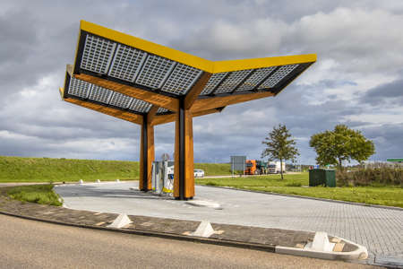 Electric car charge station in the fast expanding car charging network in the Netherlands Archivio Fotografico