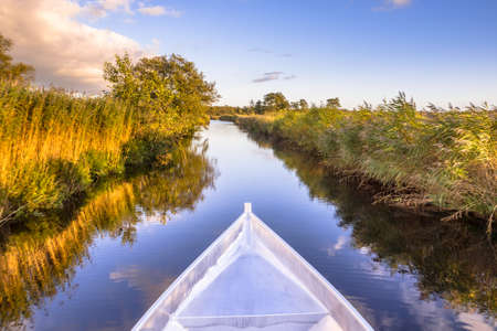 Aluminum boat stern. Boat trip in nature reserve Weerribben in the Netherlands. Archivio Fotografico