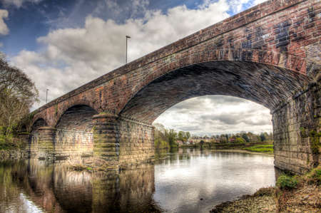dumfries and galloway: HDR shot looking underneath and through the Nith Viaduct also known as Queen of the South Viaduct which used to carry the Old Maxwellton Railway in Dumfries but is now a national cycleway.