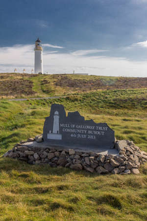 dumfries and galloway: Commemorative plaque showing the 2013 community buyout of the Mull of Galloway Lighthouse and surrounding land in Dumfries and Galloway, Scotland. Stock Photo