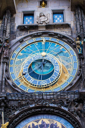 Aged Prague Astronomical Clock in the Old Town of Prague. Huge blue clock face with golden letters, signs of the zodiac and letters.
