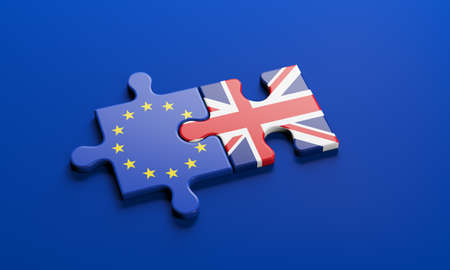 Brexit - British exit from the European Union in 2020. The concept of a 'Brexit' represented via jigsaw puzzle. Member states represented by pieces of puzzles with flag. 3D rendering graphics. Banque d'images