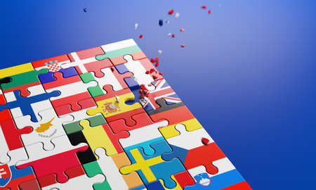 Brexit - British exit from the European Union in 2020. The concept of a 'Brexit' represented via jigsaw puzzle. Member states represented by pieces of puzzles with flag dissolving. 3D rendering. Banque d'images