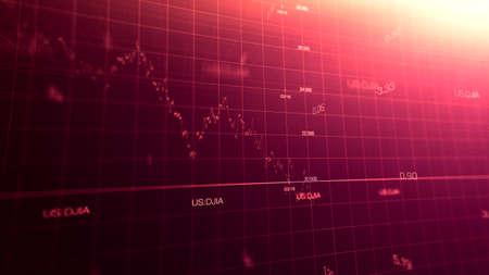 Graphique boursier crise mondiale provoquée par le virus corona SARS-CoV-2, source de la maladie pandémique COVID-19. Indice du marché américain en mars 2020, industrie en récession.