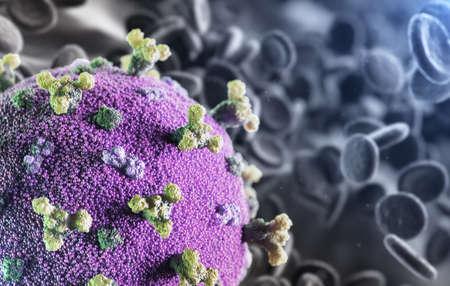 Corona virus SARS-CoV-2 novel coronavirus concept resposible for asian flu COVID-19 outbreak and coronaviruses influenza as dangerous flu strain pandemia. Microscope virus close up. 3d rendering.