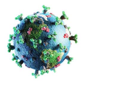 Corona virus SARS-CoV-2 novel coronavirus concept resposible for covid-19 outbreak and coronaviruses dangerous flu strain pandemia. Microscope virus close up, earth globe model.