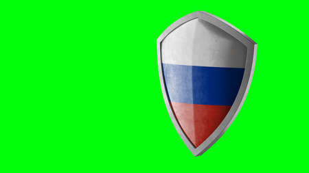 Protection shield and safeguard concept. Shiny steel armor painted as Russian national flag. Safety badge icon. Privacy banner. Security label and defense sign. Force and strong symbol. 3D rendering