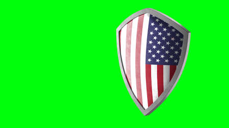 Protection shield and safeguard concept. Shiny steel armor painted as American national flag. Safety badge icon. Privacy banner. Security label and defense sign. Force and strong symbol. 3D rendering