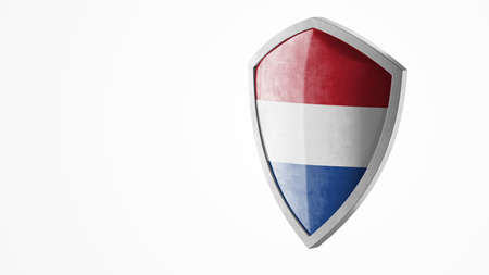 Protection shield and safeguard concept. Shiny steel armor painted as Dutch national flag. Safety badge icon. Privacy banner. Security label and defense sign. Force and strong symbol. 3D rendering