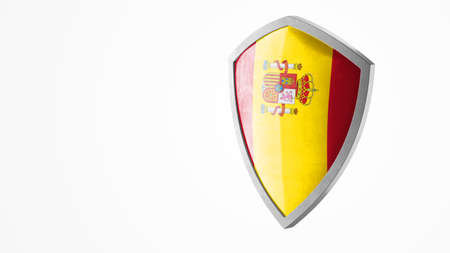 Protection shield and safeguard concept. Shiny steel armor painted as Spanish national flag. Safety badge icon. Privacy banner. Security label and defense sign. Force and strong symbol. 3D rendering