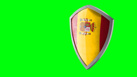 Protection shield and safeguard concept. Shiny steel armor painted as Spanish national flag. Safety badge icon. Privacy banner. Security label and defense sign. Force and strong symbol. 3D rendering Archivio Fotografico