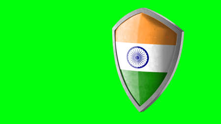 Protection shield and safeguard concept. Shiny steel armor painted as national flag of India. Safety badge icon. Privacy banner. Security label and defense sign. Force and strong symbol. 3D rendering Archivio Fotografico