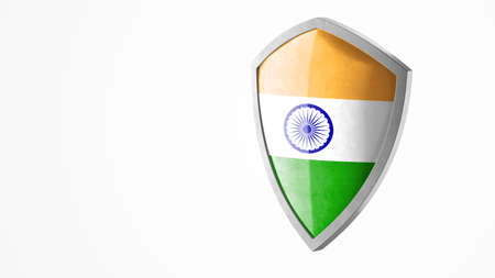 Protection shield and safeguard concept. Shiny steel armor painted as national flag of India. Safety badge icon. Privacy banner. Security label and defense sign. Force and strong symbol. 3D rendering