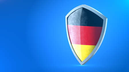 Protection shield and safeguard concept. Shiny steel armor painted as German national flag. Safety badge icon. Privacy banner. Security label and defense sign. Force and strong symbol. 3D rendering