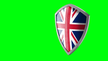 Protection shield and safeguard concept. Shiny steel armor painted as British national flag. Safety badge icon. Privacy banner. Security label and defense sign. Force and strong symbol. 3D rendering