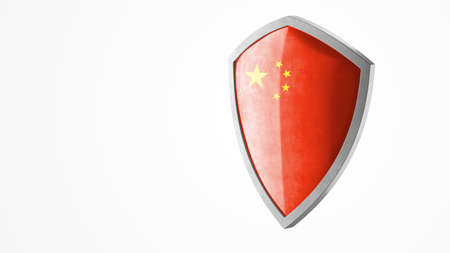 Protection shield and safeguard concept. Shiny steel armor painted as Chinese national flag. Safety badge icon. Privacy banner. Security label and defense sign. Force and strong symbol. 3D rendering