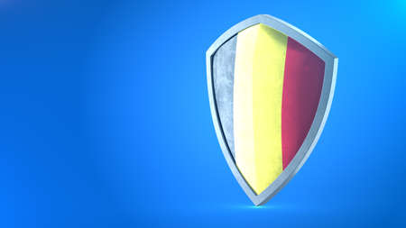 Protection shield and safeguard concept. Shiny steel armor painted as Belgian national flag. Safety badge icon. Privacy banner. Security label and defense sign. Force and strong symbol. 3D rendering