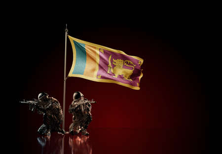 Concept of military conflict with soldier statues and waving national flag of Sri Lanka. Illustration of coup idea. Two guards defending the symbol of country against red wall