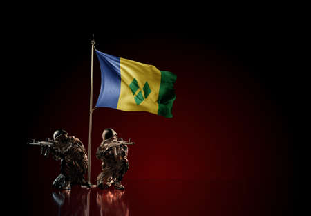Concept of military conflict with soldier statues and waving national flag of Saint Vincent and the Grenadines. Illustration of coup idea. Two guards defending the symbol of country against red wall