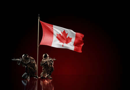 Concept of military conflict with soldier statues and waving national flag of Canada. Illustration of coup idea. Two guards defending the symbol of country against red wall Reklamní fotografie