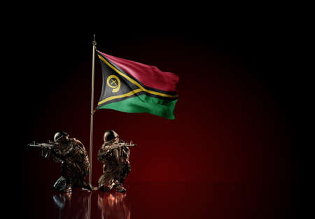 Concept of military conflict with soldier statues and waving national flag of Vanatu. Illustration of coup idea. Two guards defending the symbol of country against red wall