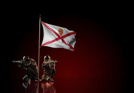 Concept of military conflict with soldier statues and waving national flag of Jersey. Illustration of coup idea. Two guards defending the symbol of country against red wall