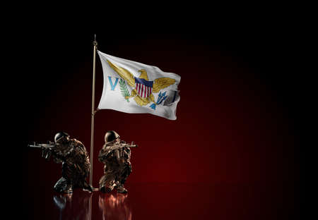 Concept of military conflict with soldier statues and waving national flag of United States Virgin Islands. Illustration of coup idea. Two guards defending the symbol of country against red wall Reklamní fotografie