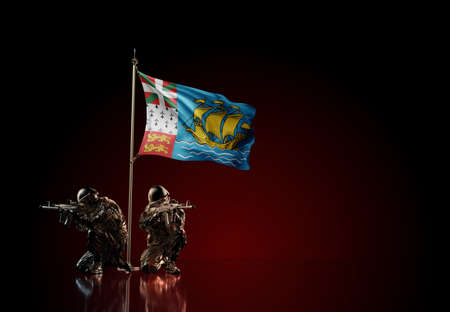 Concept of military conflict with soldier statues and waving national flag of Saint Pierre and Miquelon. Illustration of coup idea. Two guards defending the symbol of country against red wall