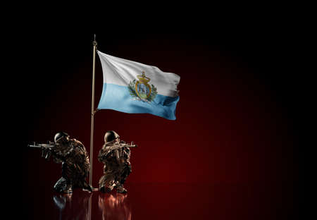 Concept of military conflict with soldier statues and waving national flag of San Marino. Illustration of coup idea. Two guards defending the symbol of country against red wall