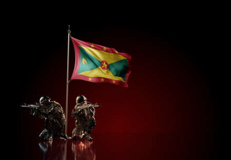Concept of military conflict with soldier statues and waving national flag of Grenada. Illustration of coup idea. Two guards defending the symbol of country against red wall