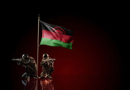 Concept of military conflict with soldier statues and waving national flag of Malawi. Illustration of coup idea. Two guards defending the symbol of country against red wall