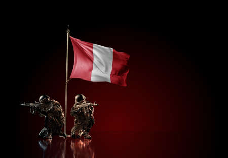 Concept of military conflict with soldier statues and waving national flag of Peru. Illustration of coup idea. Two guards defending the symbol of country against red wall