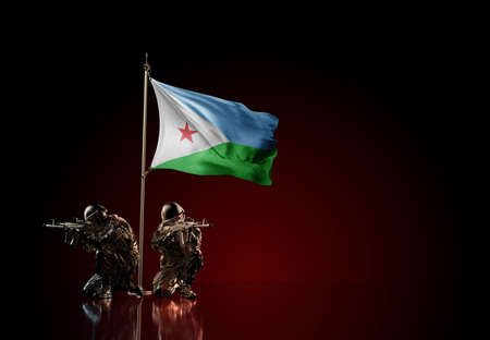 Concept of military conflict with soldier statues and waving national flag of Djibouti. Illustration of coup idea. Two guards defending the symbol of country against red wall Reklamní fotografie