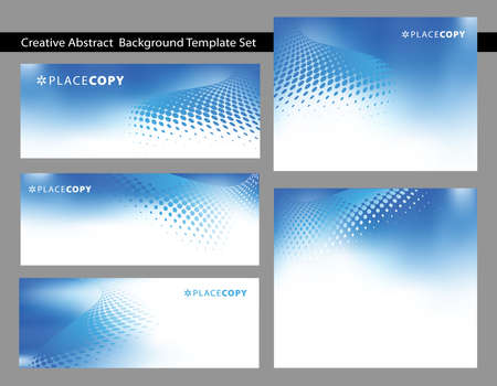 Choice of abstract dark blue background templates with swirls dot with plenty of copy space