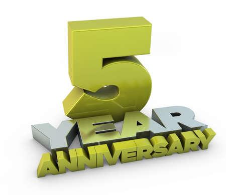 10 number: 5 year anniversary Stock Photo