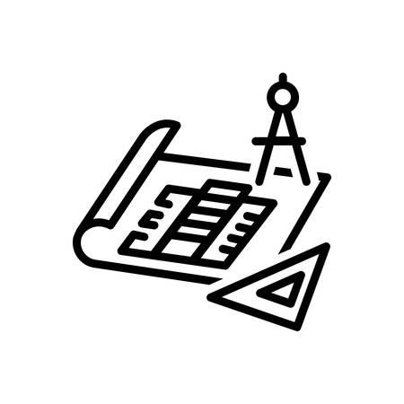 Icon for blueprints,architect Ilustracja