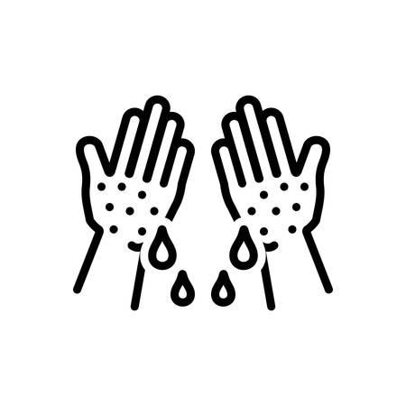 Icon for clammy,sticky