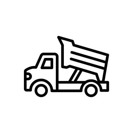 Icono de camión volquete, construcción