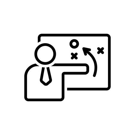 Icon for person explaining strategy on aboard with a sketch,person Stock Illustratie