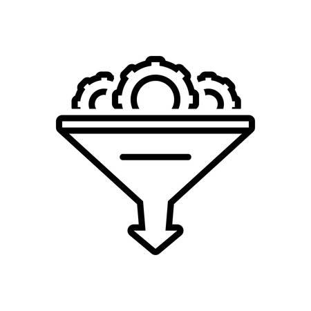 Icon for funnel,gear,optimization