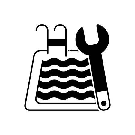 Pool maintenance icon 向量圖像
