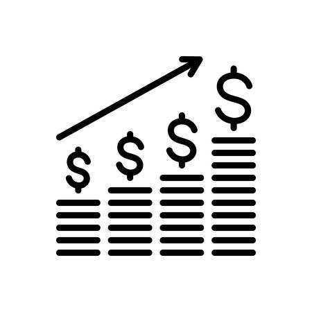 Icon for dollar analysis bars chart,growing business Ilustracja