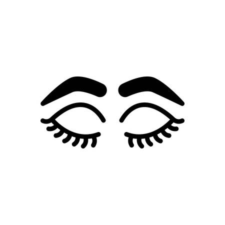 Icon for closed eyes with lashes and brows,glamour