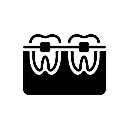 Icon for tooth with braces,orthodontics Ilustracja