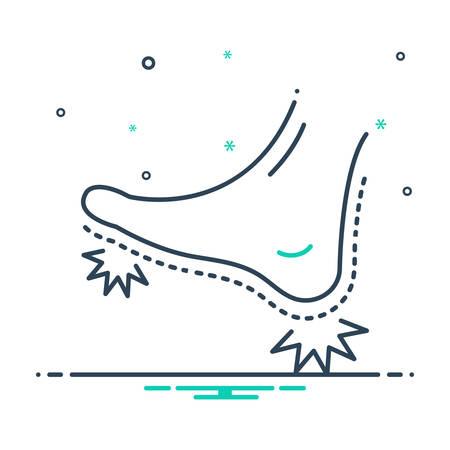 Foot pain icon Illustration