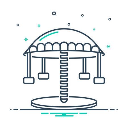 Icon for carousel ,amusement park Illustration