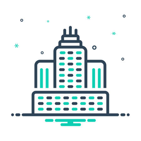 Icon for urban buildings towers ,architect Ilustracja