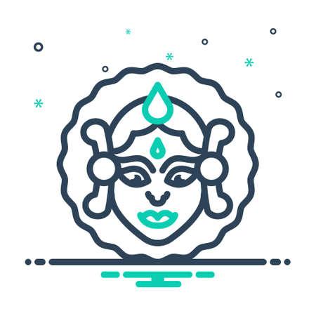Icon for durga puja,goddess durga Illustration