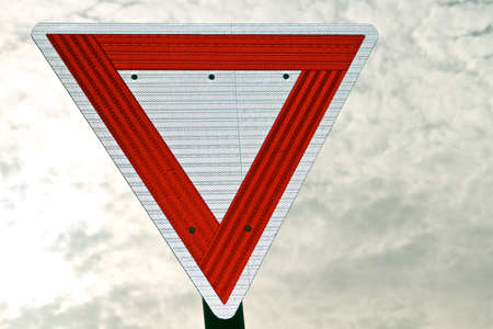 A reflective Yeld sign but not LED backlit Stock Photo
