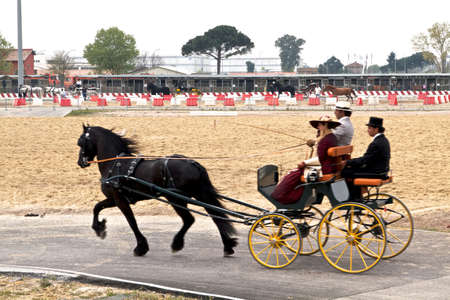 1850 representation of the Italian coach who carried public figures who contributed to the unification of Italy in the 1850 at Roma Cavalli horse fair in Rome, Italy on April 2011. Stock Photo - 9386525